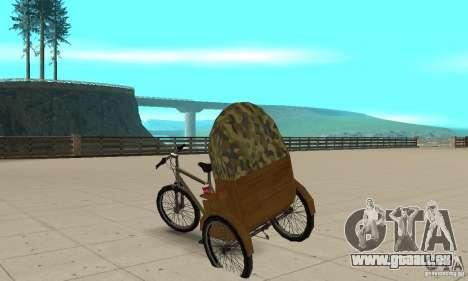 Manual Rickshaw v2 Skin2 pour GTA San Andreas sur la vue arrière gauche