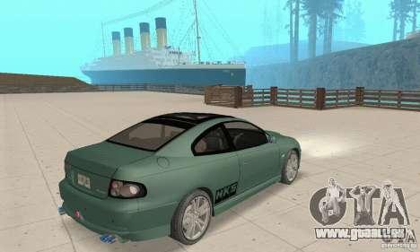 Vauxhall Monaro VXR Open SKY 2004 pour GTA San Andreas laissé vue