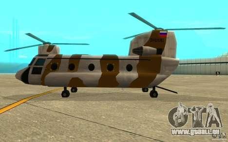 GTA SA Chinook Mod pour GTA San Andreas sur la vue arrière gauche