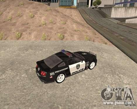 Ford Shelby GT500 2010 Police pour GTA San Andreas laissé vue