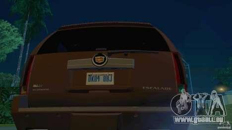 Cadillac Escalade ESV 2012 pour GTA San Andreas sur la vue arrière gauche