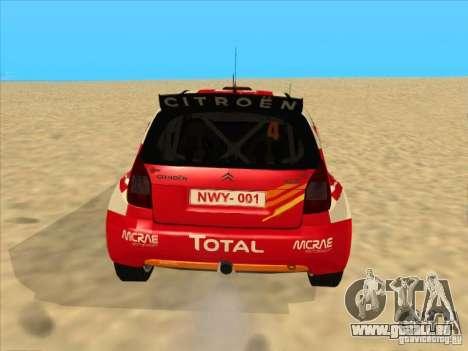 Citroen Rally Car pour GTA San Andreas sur la vue arrière gauche