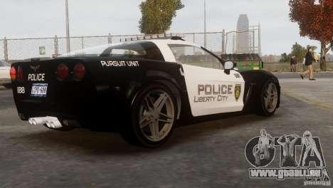 Chevrolet Corvette LCPD Pursuit Unit pour GTA 4 est une vue de l'intérieur