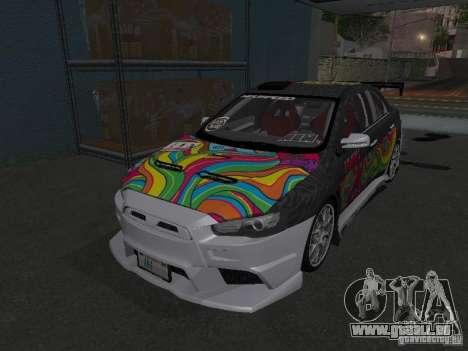 Mitsubishi Evolution X Stock-Tunable für GTA San Andreas rechten Ansicht