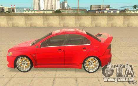 Mitsubishi Lancer Evolution X MR1 für GTA San Andreas linke Ansicht