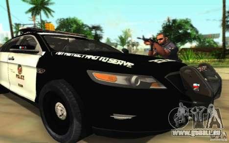 Ford Taurus 2011 LAPD Police für GTA San Andreas Unteransicht