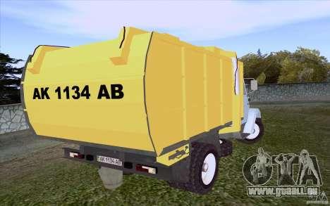 ZIL 4331 Müllwagen für GTA San Andreas zurück linke Ansicht