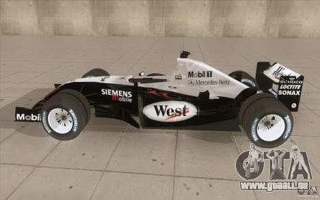 McLaren Mercedes MP 4-19 für GTA San Andreas linke Ansicht