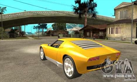 Lamborghini Miura Concept 2006 für GTA San Andreas zurück linke Ansicht