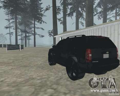 Chevrolet Tahoe BLACK EDITION für GTA San Andreas zurück linke Ansicht