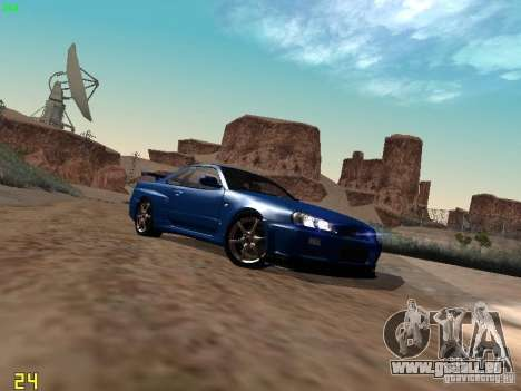 Nissan Skyline GT-R R34 V-Spec pour GTA San Andreas sur la vue arrière gauche
