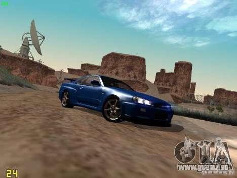 Nissan Skyline GT-R R34 V-Spec für GTA San Andreas zurück linke Ansicht