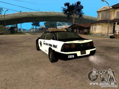 Chevrolet Impala Police 2003 pour GTA San Andreas laissé vue