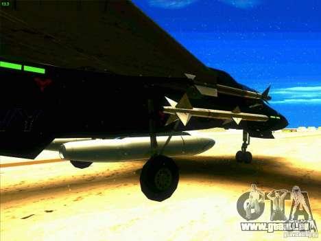 F-14 Tomcat Razgriz pour GTA San Andreas vue arrière