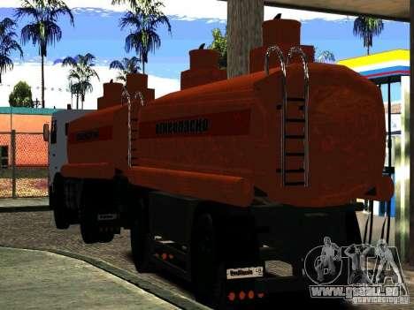 MAZ-533702 Anhänger LKW für GTA San Andreas zurück linke Ansicht