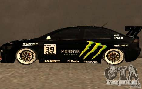 Mitsubishi Lancer Evolution X Monster Energy pour GTA San Andreas laissé vue