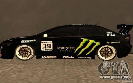 Mitsubishi Lancer Evolution X Monster Energy für GTA San Andreas linke Ansicht