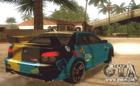 Subaru Impreza WRX STI Futou Battle für GTA San Andreas zurück linke Ansicht