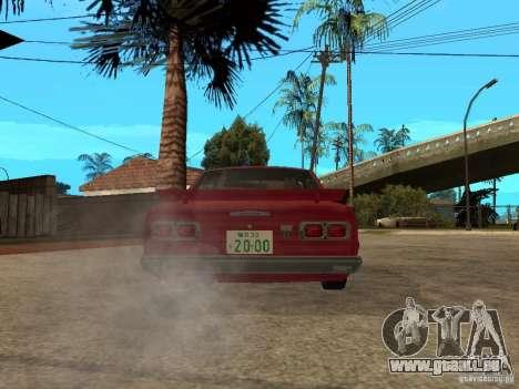 Nissan Skyline 2000 GT-R pour GTA San Andreas sur la vue arrière gauche