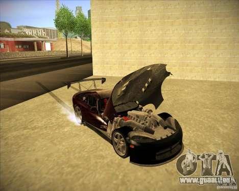 Dodge Viper TT pour GTA San Andreas vue intérieure