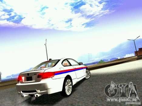 BMW M3 MotoGP SafetyCar pour GTA San Andreas vue de droite