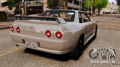 Nissan Skyline GT-R (BNR32) pour GTA 4 Vue arrière de la gauche