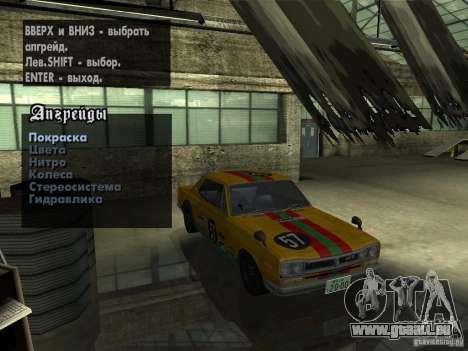 Nissan Skyline 2000 GT-R pour GTA San Andreas vue intérieure