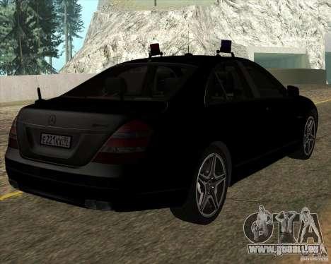 Mercedes-Benz S65 AMG W221 pour GTA San Andreas sur la vue arrière gauche