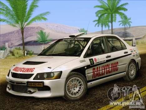 Mitsubishi Lancer Evolution IX Rally pour GTA San Andreas salon