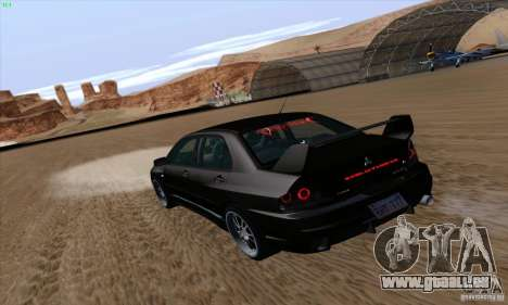 Mitsubishi Lancer EVO VIII BlackDevil pour GTA San Andreas laissé vue