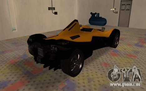 BAC Mono pour GTA San Andreas sur la vue arrière gauche