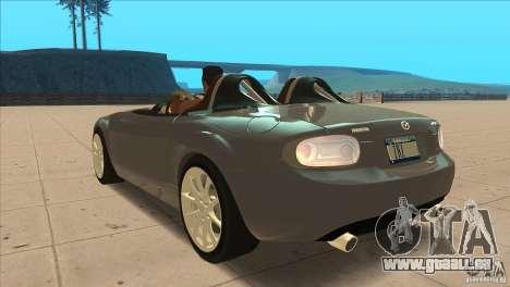 Mazda MX5 Miata Superlight 2009 V1.0 für GTA San Andreas zurück linke Ansicht