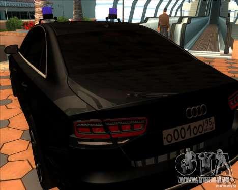 Audi A8 2010 v2.0 pour GTA San Andreas vue de droite