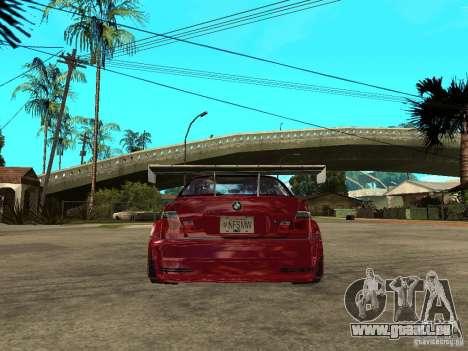 BMW M3 GTR Le Mans pour GTA San Andreas sur la vue arrière gauche