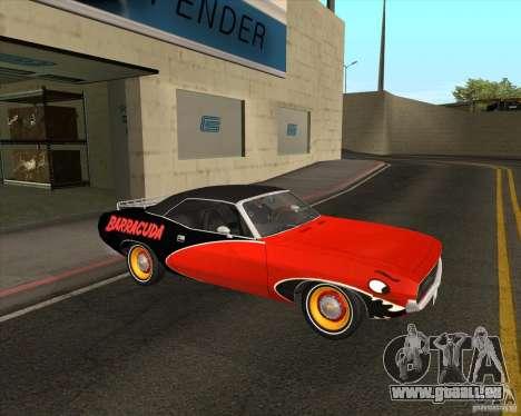 Plymouth Cuda Ragtop 1970 pour GTA San Andreas vue arrière