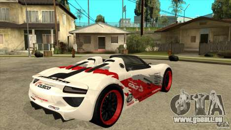 Porsche 918 Spyder Consept für GTA San Andreas rechten Ansicht