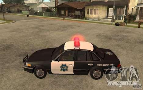Ford Crown Victoria SFPD 1992 pour GTA San Andreas laissé vue