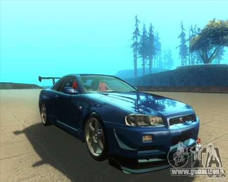 Nissan Skyline GT-R R34 M-Spec Nur für GTA San Andreas Rückansicht