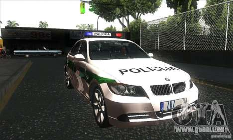 BMW 330 E90 Policija für GTA San Andreas Rückansicht