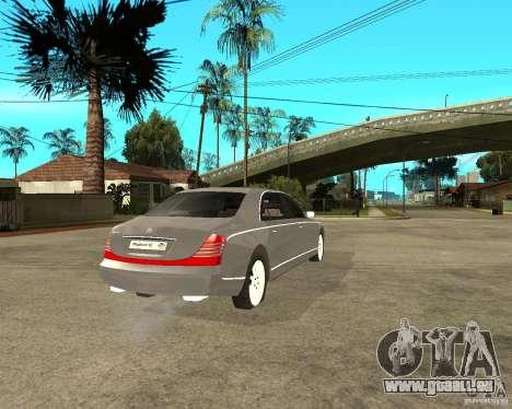 Maybach 62 pour GTA San Andreas sur la vue arrière gauche