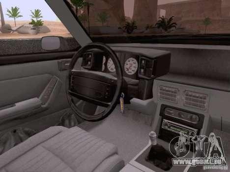 Ford Mustang GT 5.0 Convertible 1987 pour GTA San Andreas vue de dessous