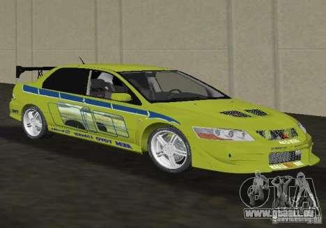 Mitsubishi Lancer Evolution VII pour une vue GTA Vice City de la droite