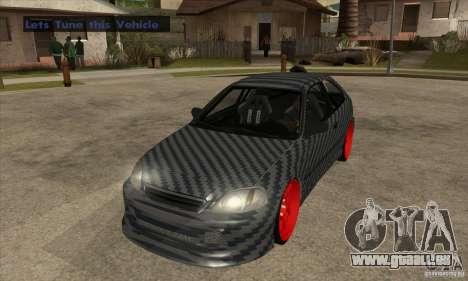 Honda Civic Carbon Latvian Skin pour GTA San Andreas