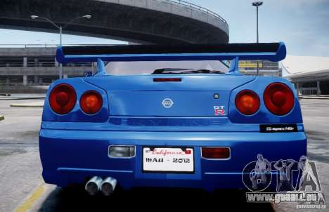 Nissan Skyline GT-R R34 Mspec für GTA 4 hinten links Ansicht