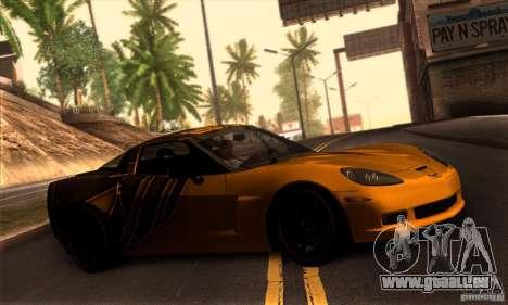 Chevrolet Corvette Z06 pour GTA San Andreas vue de dessus