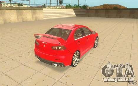 Mitsubishi Lancer Evolution X MR1 für GTA San Andreas zurück linke Ansicht