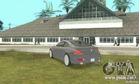2004 BMW 645ci E63 mit weißem Interieur für GTA San Andreas linke Ansicht