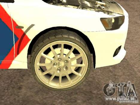 Mitsubishi Lancer X Police Indonesia pour GTA San Andreas vue intérieure