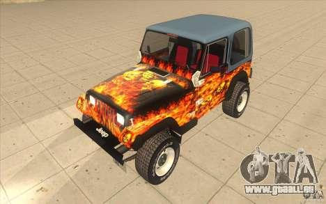 Jeep Wrangler 4.0 Fury 1986 pour GTA San Andreas vue intérieure