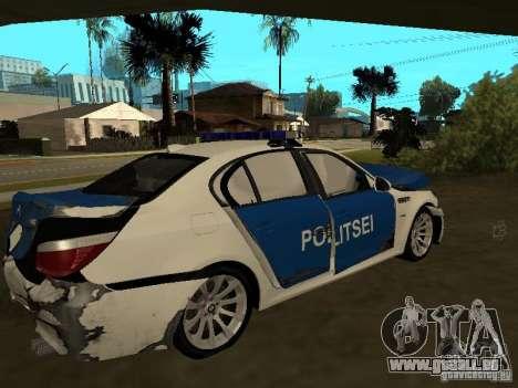 BMW 5-er Police pour GTA San Andreas vue de dessous